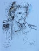 Johnny Halliday 50x65cm dessin couleur par Aimé Venel.280 ko