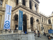 Open Access flag (2) during OA Week 2013 in front of the main building of University of Vienna