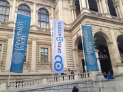 Open Access flag (1) during OA Week 2013 in front of the main building of University of Vienna