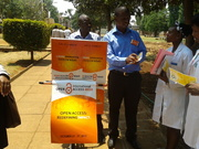Mr Nhakura discusses with Pharmaceutical ENgineering Students and distributes OA pamhlets, brochures and flyers