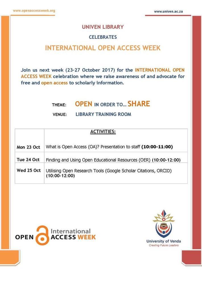 University of Venda Open Access Week Programme