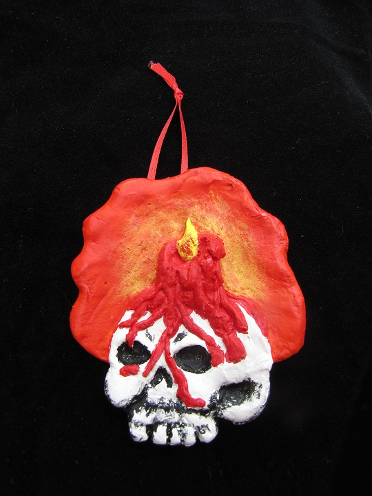 .Skull and Candle Halloween Ornament