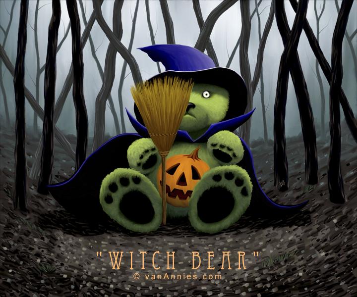 Teddy Bear Witch in a Dark Spooky Forest