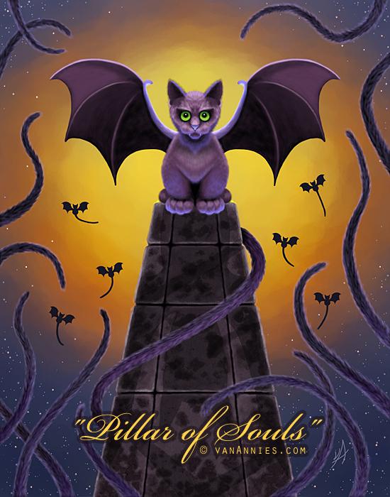 Spooky Winged Bat Cat on a Pillar