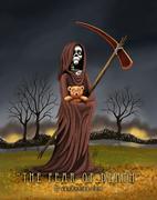 Grim Reaper Holding a Teddy Bear Horror Humor