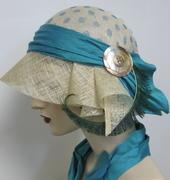 Turquoise Polka Dot Cloche