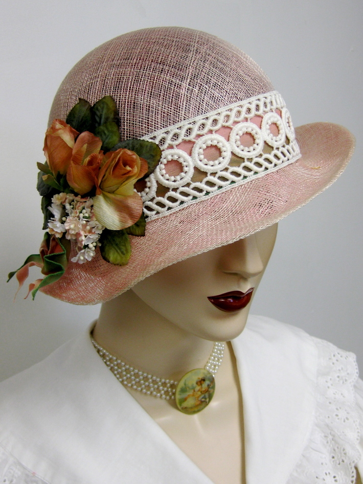 Eyelet and Pink Sinamay Cloche with Tea Roses