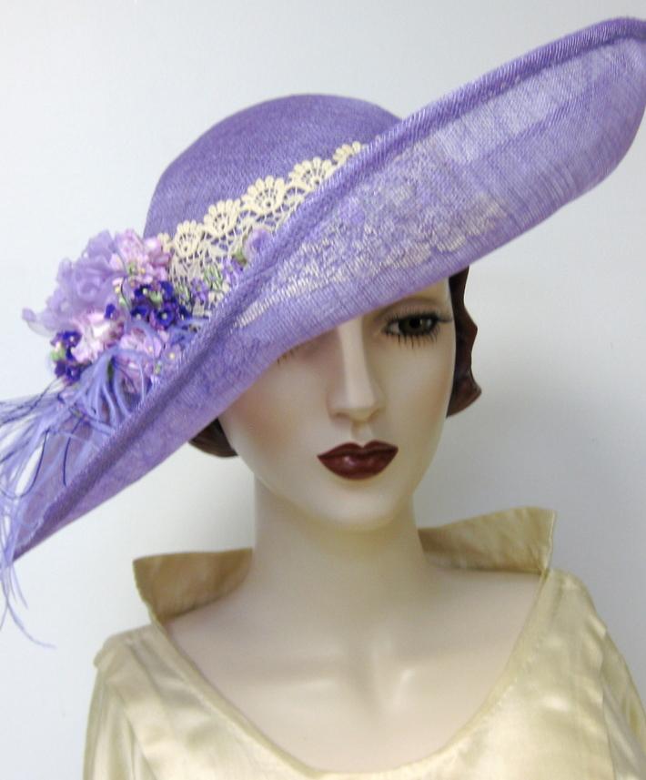Edwardian Inspired Lavender Sinamay Hat