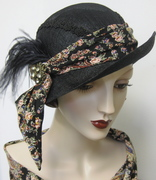 Black Sinamay Cloche with Paisley Scarf