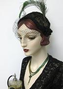 Painted Velveteen Half Hat with Peacock Swords