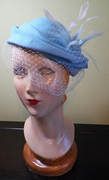 Powder Blue Wool Hat with Feathers and Veiling