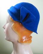 Royal Blue Wool Felt Cloche with Flower Petal