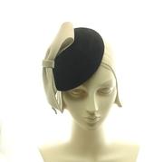Black Fur Felt Dress Hat - Taupe Felt Bow