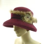 Burgundy Fur Felt Cloche Hat