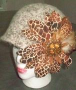 001 Felted Cloche with Giraffe flower