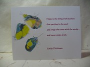 Marbled Feather Blank Notecard~Quote by Emily Dickinson
