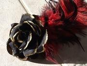 Black, Red, & Gold Custom Fascinator