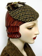 Houndstooth  Faux Feather Fascinator