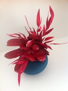 Teal Fur & Red Leather Camilia Headpiece by Murley & Co Millinery