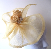Jules - Yellow Headpiece with Roses and Pearls