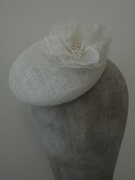 White & Gold Cocktail Fascinator - Bridal