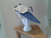 Regal Blue Hatinator with Satin flowers & Feathers (2)