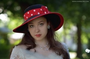 Black Hat with Polka Dots by Ruby & Cordelia's Millinery