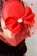 Red Fascinator with Rhinestone Embellishment