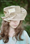 Free Form Whimsical Burlap Hat by Ruby & Cordelia 's Millinery