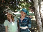 Sheree in mint hat, Madi in teal hat.