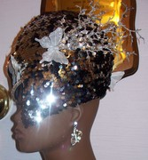 SPARKLE BLACK SILVER HAT BUTTERFLY