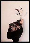 Black lace & gold satin