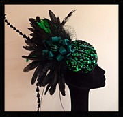 My Velvet Green Sequins feathered Fascintor