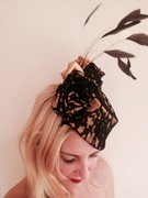 Black lace and Gold satin fascinator