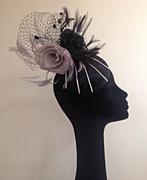 Velvet black and grey sinamay rose Fascinator