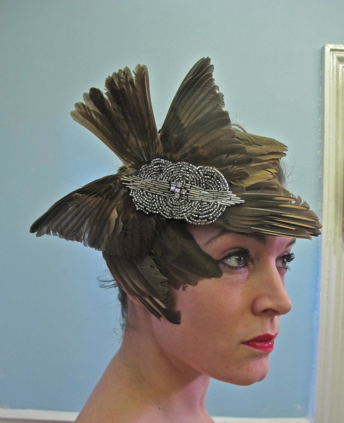 Mind Like Magpie- Feathered headpiece Charlie Tuesday Gates