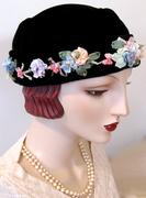 Silk Ribbon Embroidered Velvet Toque