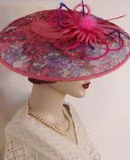 Printed Sinamay Dish Hat