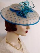 Polka Dotted Sinamay Dish Hat