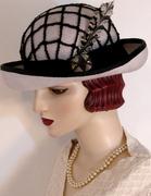 Pearl Grey Ladies Bowler with Art Deco Buckle