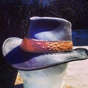 Leather Fedora with Ostrich Hatband