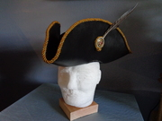 Leather Tricorn Hat with Braided Edge