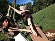 Madi in black crin hat, Sheree in apricot hat.