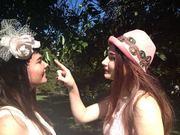 Sheree wears my little silk pillbox, Madi wears my peach felt hat.