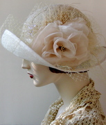 Sinamay Wedding Cloche with Handmade Silk Organza Rose