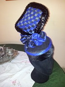 Silk abaca pillbox hat in royal blue and black