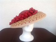 Straw hatinator with sinamay crown