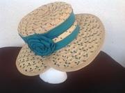 Straw hat with grosgrain binding on brim