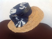 Bahamian straw and Androsia fabric hat