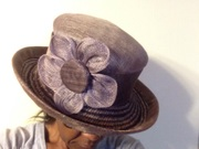 purple straw and sinamay hat
